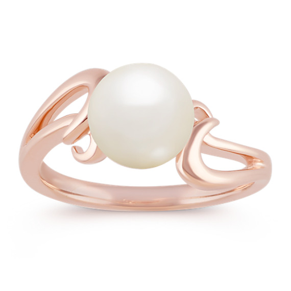 8mm Cultured Freshwater Pearl Ring in 14k Rose Gold