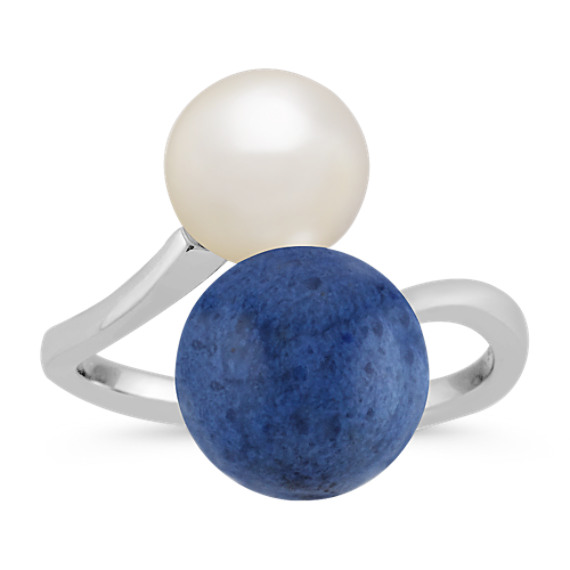 8mm Cultured Freshwater Pearl and 10mm Blue Quartz Ring