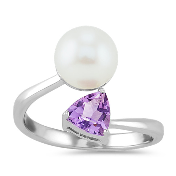 8mm Freshwater Pearl and Amethyst Crossover Ring
