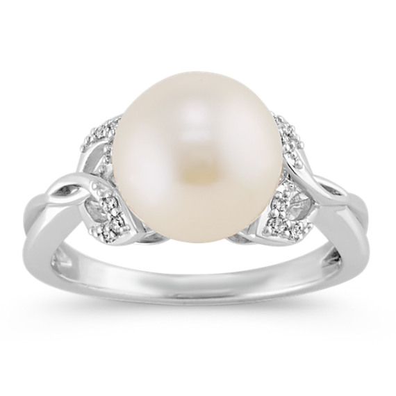 9.5mm Cultured Freshwater Pearl and Diamond Ring with Leaf Accent