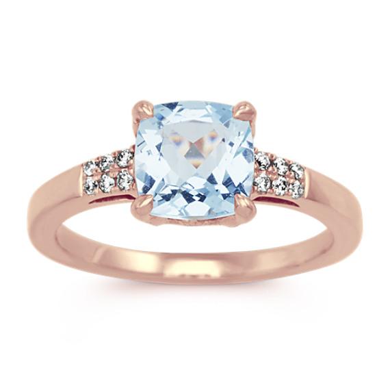 Aquamarine Ring with Diamond Accents