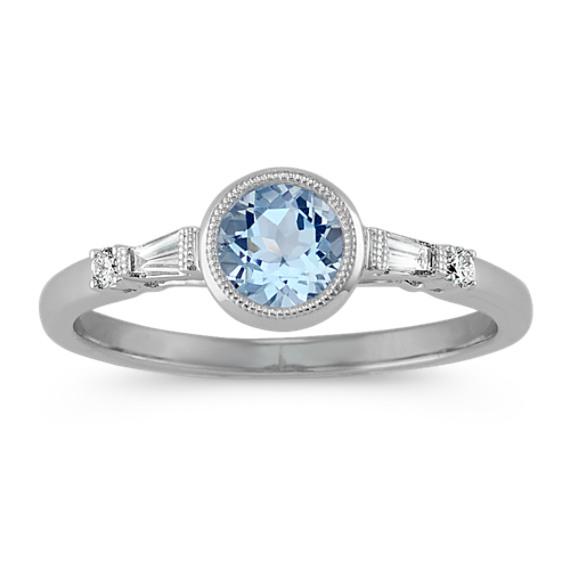 Aquamarine and Diamond Ring in 14k White Gold