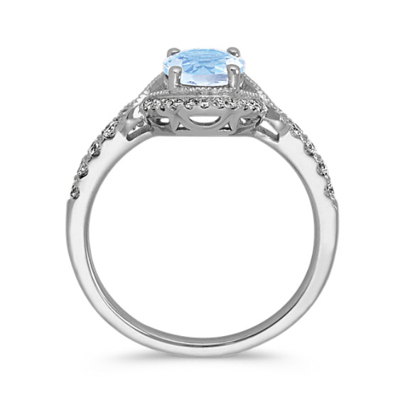 Aquamarine and Diamond Vintage Ring image