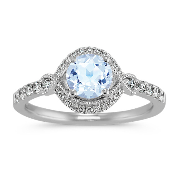 Aquamarine and Diamond Vintage Ring