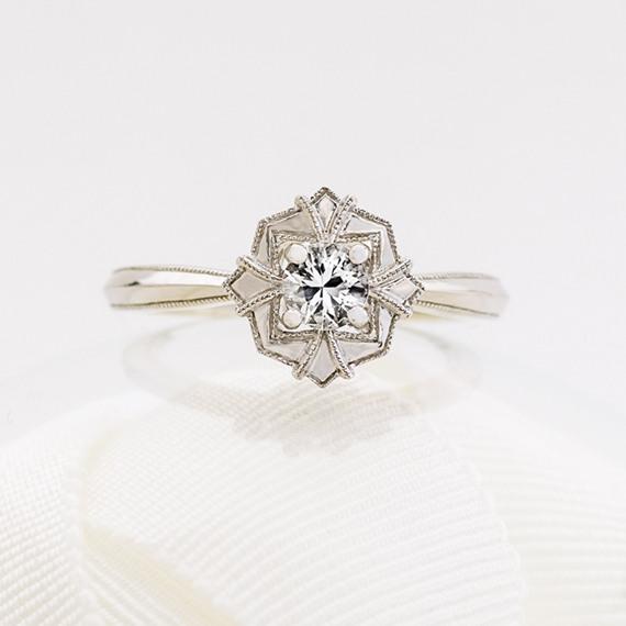 Art Deco White Sapphire Ring Shane Co