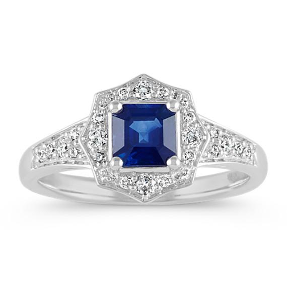 Asscher Cut Traditional Sapphire and Diamond Ring