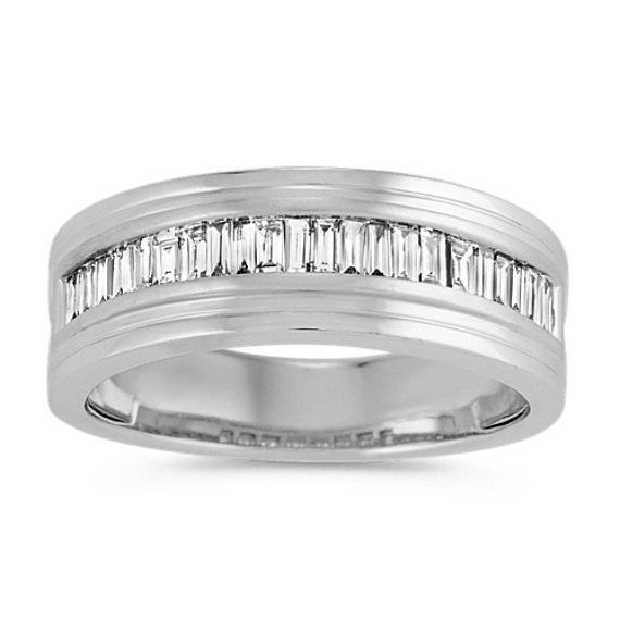Baguette Diamond Mens Ring in 14k White Gold (8mm)