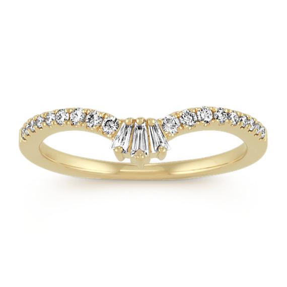 Baguette Diamond V Wedding Band