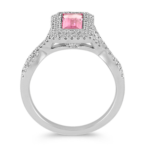 Baguette Pink Sapphire and Diamond Ring image