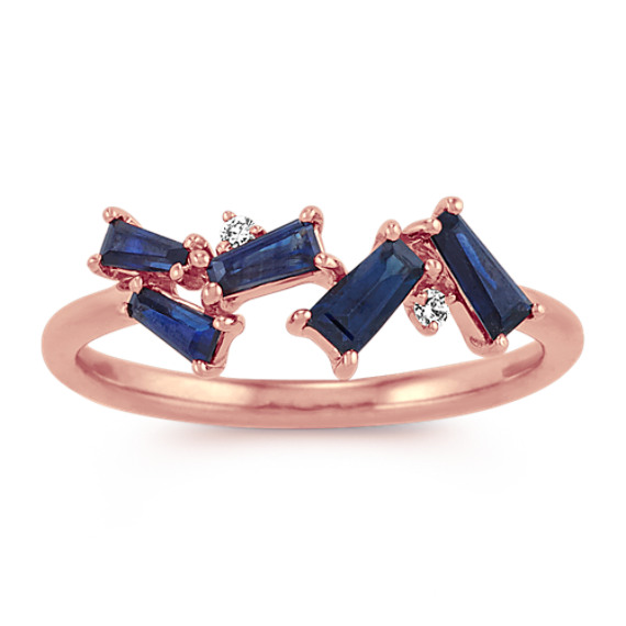 Baguette Traditional Sapphire and Diamond Ring in 14k Rose Gold