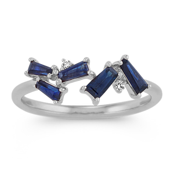 Baguette Traditional Sapphire and Diamond Ring in 14k White Gold
