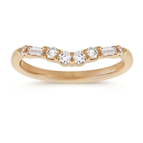 Baguette and Round Diamond Contour Wedding Band in 14k Yellow Gold