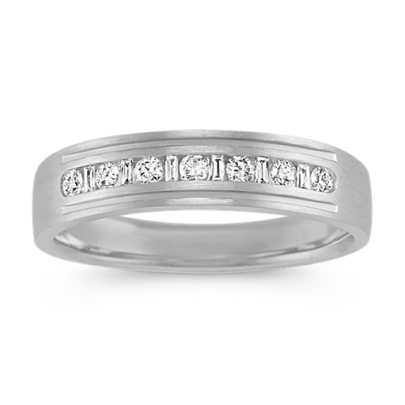 Baguette and Round Diamond Mens Ring (5.5mm)