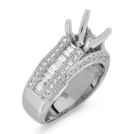 Baguette and Round Diamond Platinum Engagement Ring with Channel