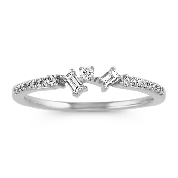 Baguette and Round Diamond Ring in 14k White Gold
