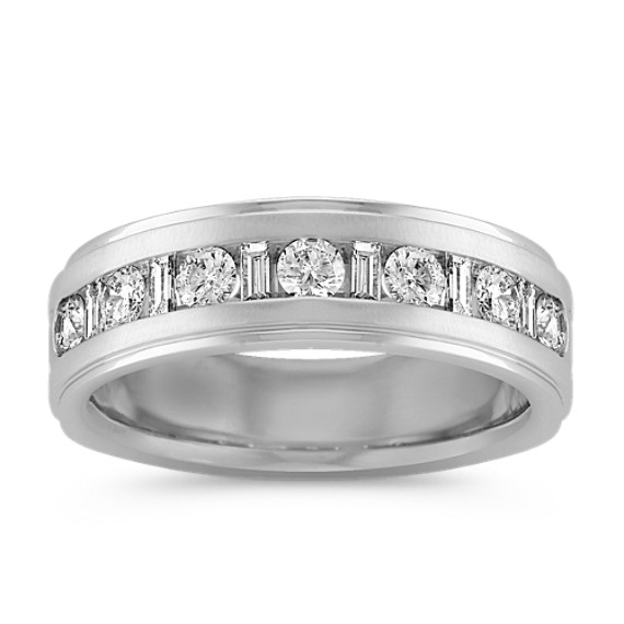 Baguette and Round Diamond Ring with Channel-Setting