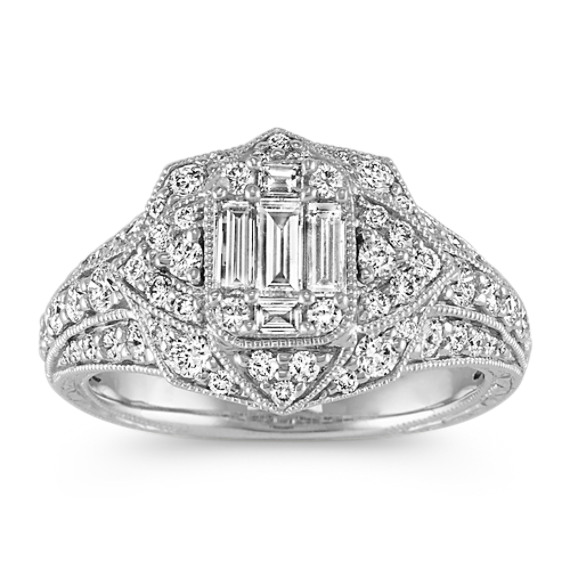 Baguette and Round Diamond Vintage Ring