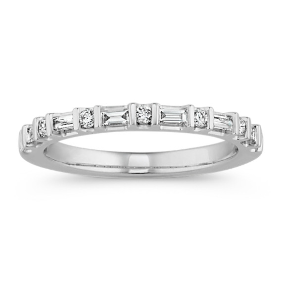 Baguette and Round Diamond Wedding Band in 14k White Gold