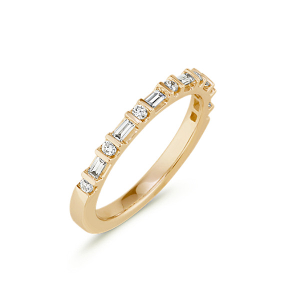Baguette and Round Diamond Wedding Band in 14k Yellow Gold | Shane Co.