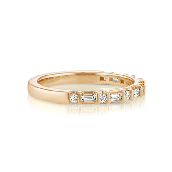 set bands band wedding baguette diamond channel round