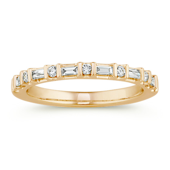 Baguette and Round Diamond Wedding Band in 14k Yellow Gold