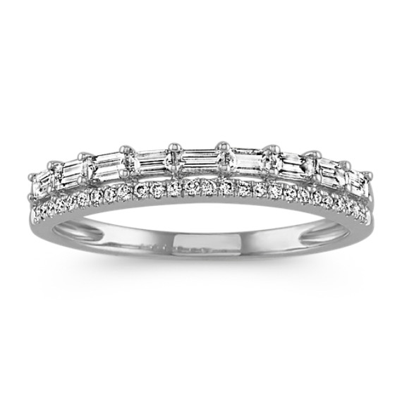 Baguette and Round Diamond Band in 14k White Gold