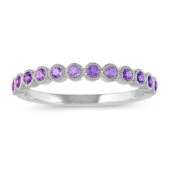 Bezel-Set Amethyst Ring in 14k White Gold
