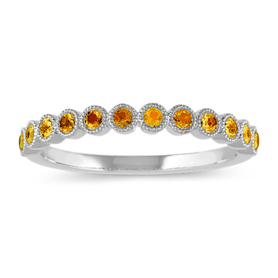 Bezel-Set Citrine Ring in 14k White Gold