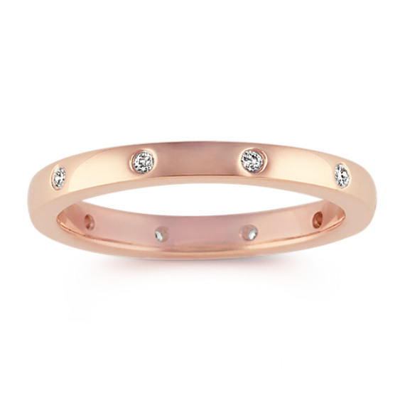 Bezel-Set Diamond Wedding Band in 14k Rose Gold