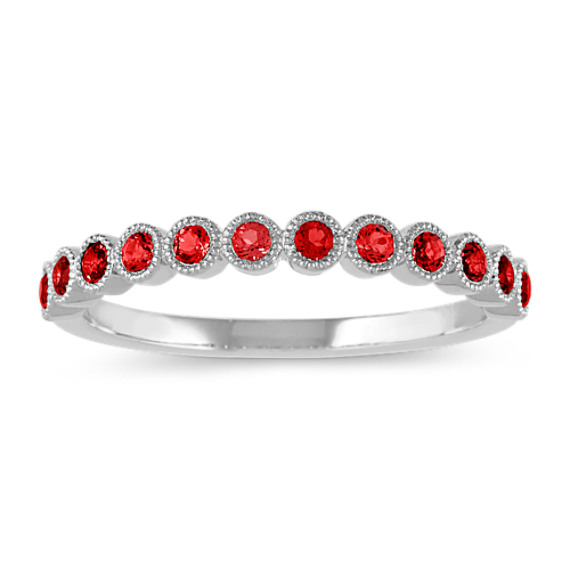 Bezel-Set Garnet Ring in 14k White Gold