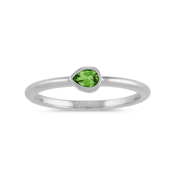 Bezel-Set Green Sapphire Ring in 14k White Gold