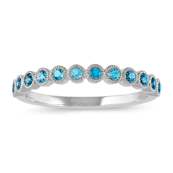Bezel-Set London Blue Topaz Ring in 14k White Gold