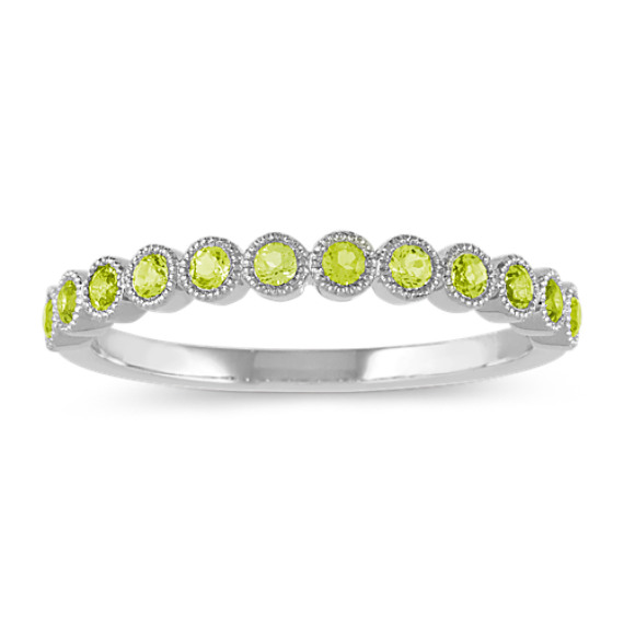 Bezel-Set Peridot Ring in 14k White Gold
