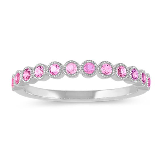 Bezel-Set Pink Sapphire Ring in 14k White Gold