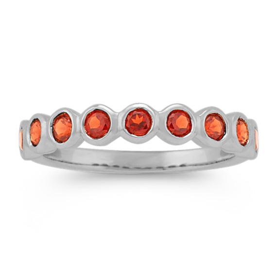 Bezel-Set Round Garnet Ring in 14k White Gold