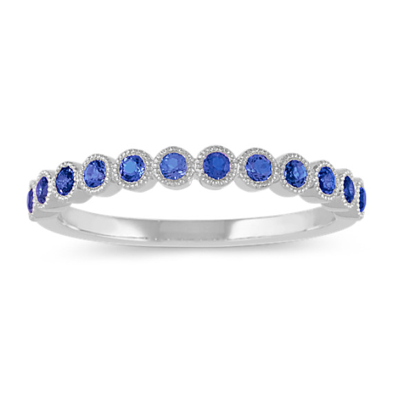 Bezel-Set Traditional Blue Sapphire Ring in 14k White Gold