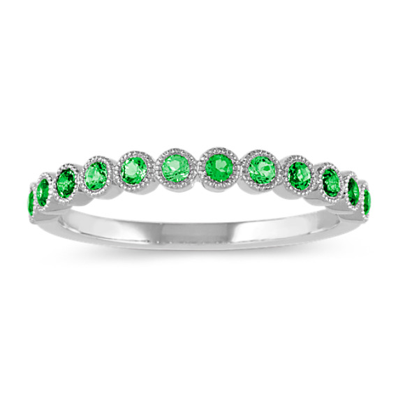 Bezel-Set Tsavorite Ring in 14k White Gold