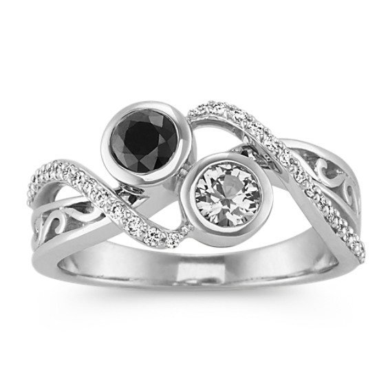 Bezel-Set White and Black Sapphire and Diamond Ring
