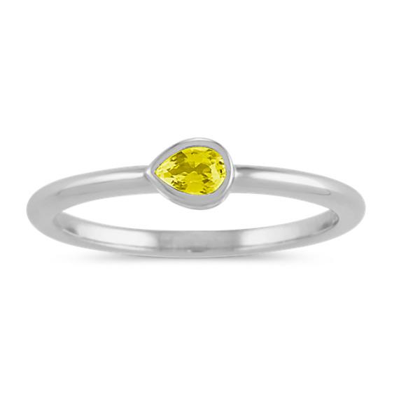 Bezel-Set Yellow Sapphire Ring in 14k White Gold