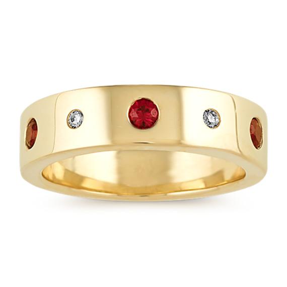 Bezel-set Ruby and Diamond Ring