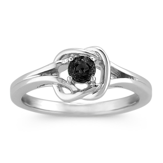 Black Sapphire Knot Ring in Sterling Silver
