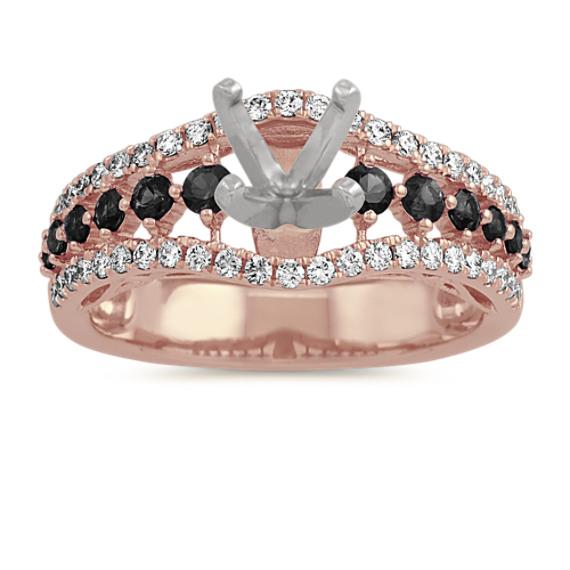 Black Sapphire and Diamond Engagement Ring