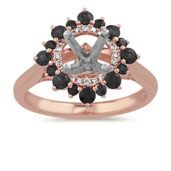 Black Sapphire and Diamond Halo Engagement Ring