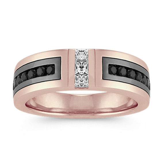 Black Sapphire and Diamond Mens Band in 14k Rose Gold (7mm)