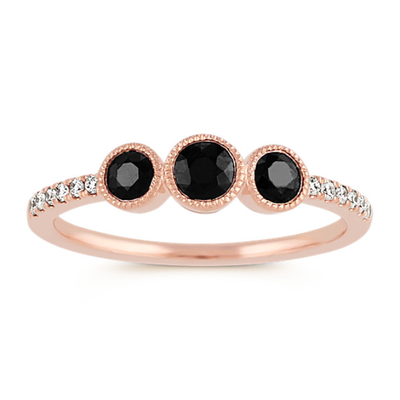 Black Sapphire and Diamond Ring in 14k Rose Gold