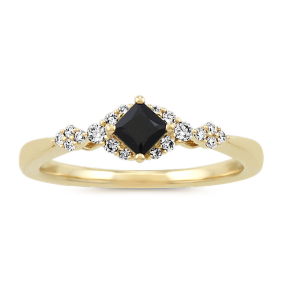 Black Sapphire and Diamond Ring in 14k Yellow Gold