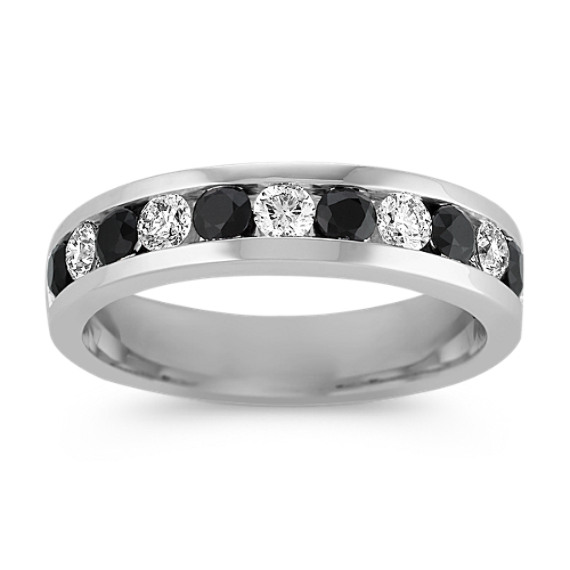 Black Sapphire and Diamond Wedding Band (6mm)