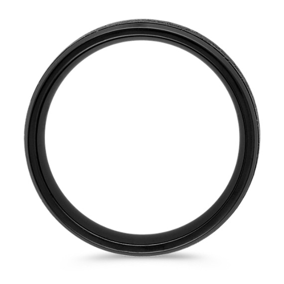 Black Titanium Comfort Fit Ring with Cracked Texture (9mm) image