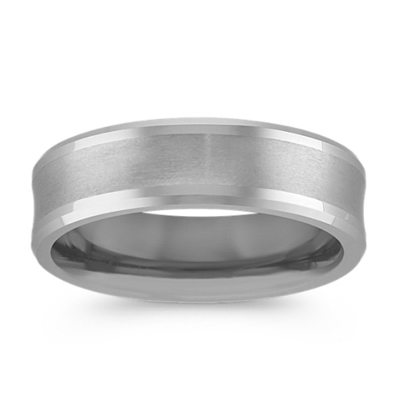 Brushed Comfort Fit Titanium Mens Band (6.5mm)