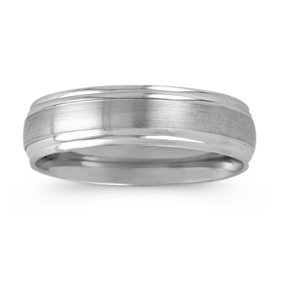 Brushed Inlay 14k White Gold Wedding Band (6mm)